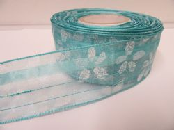2 metres or 20 metre Roll 25mm Bright Blue Wired Organza Sheer Flower Ribbon (1)